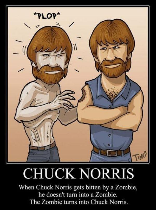 Chuck Norris bitten by a Zombie